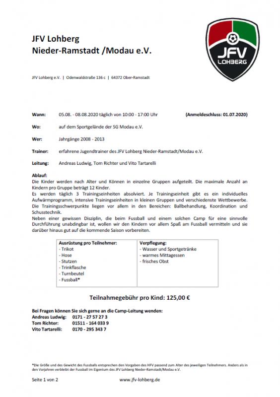 abgesagt - Fußballcamp 2020