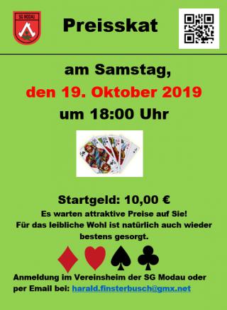 Preisskat am 19.10. @ SG Modau e.V. Sportheim